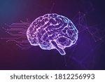 abstract brain hologram on blue ... | Shutterstock . vector #1812256993