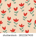 minimal solid red flowers... | Shutterstock .eps vector #1812267433