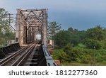 Old Railroad Tracks On Black...
