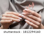 Female Hands With White Nail...