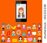 illustration of social media... | Shutterstock .eps vector #181231238