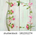 pink fresh roses  on a green... | Shutterstock . vector #181231274