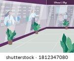 Women Shop Flat Color Vector...