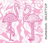 square pattern with flamingos.... | Shutterstock .eps vector #1812377119