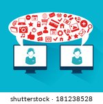 social media design over blue... | Shutterstock .eps vector #181238528