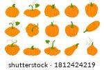 orange pumpkins in flat style... | Shutterstock .eps vector #1812424219