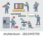 a cute repairman is fixing a... | Shutterstock .eps vector #1812445750