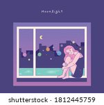 a girl is sitting by the window ... | Shutterstock .eps vector #1812445759