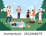 people on bbq party vector... | Shutterstock .eps vector #1812468679