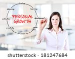 young businesswoman holding a... | Shutterstock . vector #181247684