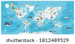 the world map with cartoon... | Shutterstock .eps vector #1812489529