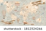 Childrens Retro World Map With ...