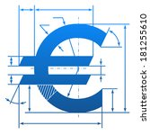 euro symbol with dimension... | Shutterstock .eps vector #181255610