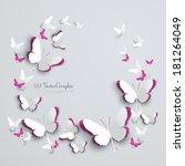 Stock vector abstract d paper butterflies cut out 181264049