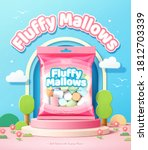 fluffy marshmallows promo ad in ... | Shutterstock .eps vector #1812703339