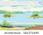 large lake with little islands... | Shutterstock .eps vector #181271690