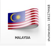 malaysia flag isolated on white ... | Shutterstock . vector #181274468
