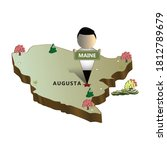 Maine State Map. Illustration...