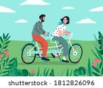 cute couple riding on tandem...   Shutterstock .eps vector #1812826096