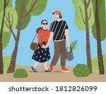 cute couple holding hands...   Shutterstock .eps vector #1812826099