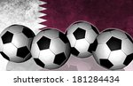 footballs on top of flag   qatar | Shutterstock . vector #181284434