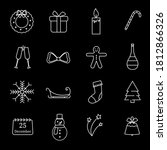 christmas linear icons on black ... | Shutterstock .eps vector #1812866326