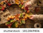 Making wreath autumn colorful...