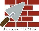 icon of brick wall with trowel. ...