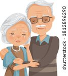 elderly couple crying. old... | Shutterstock .eps vector #1812896290