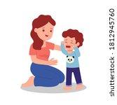 mother comforting her son... | Shutterstock .eps vector #1812945760