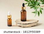 two brown bottles of cosmetics... | Shutterstock . vector #1812950389