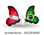 two butterflies with flags on... | Shutterstock . vector #181295690