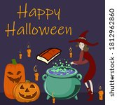 happy halloween witch making a... | Shutterstock .eps vector #1812962860