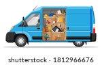 delivery van with open door and ... | Shutterstock .eps vector #1812966676
