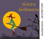happy halloween witch flying on ... | Shutterstock .eps vector #1812967249