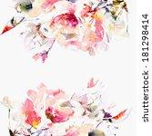 floral background. roses.... | Shutterstock . vector #181298414