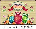 easter eggs with flowers and... | Shutterstock .eps vector #181298819