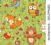 cute seamless pattern with... | Shutterstock .eps vector #181299683