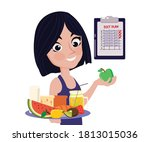 healthy lifestyle woman holding ... | Shutterstock .eps vector #1813015036