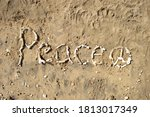 """""""peace"""" Word And Symbol Made On ..."""