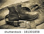 leather shoes  leather belt ... | Shutterstock . vector #181301858