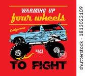 warming up four wheels car | Shutterstock . vector #1813023109