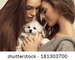 beautiful women with a cute... | Shutterstock . vector #181303700