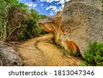 Small photo of Mountain trail view. Mountain rock trail. Trail in mountains