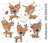 Cute Cartoon Deer Isolated On A ...