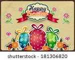 easter eggs with flowers and... | Shutterstock . vector #181306820