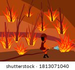 Vector Picture Of Wildfire At...
