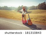 hippie girl with guitar... | Shutterstock . vector #181310843