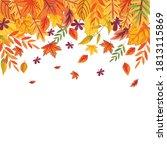 falling autumn leaves on white... | Shutterstock .eps vector #1813115869
