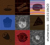 set of 9 food or restaurant... | Shutterstock .eps vector #1813118620